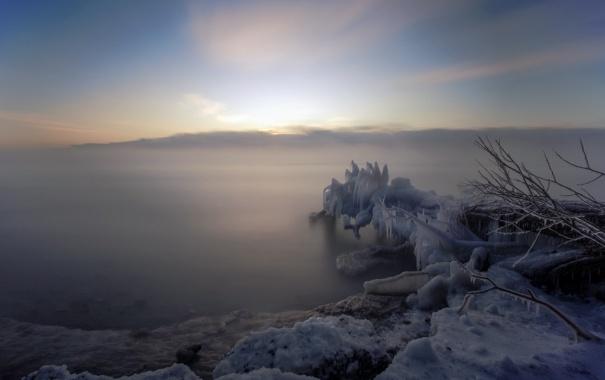 Фото обои ice, lake, morning, foggy, long exposure