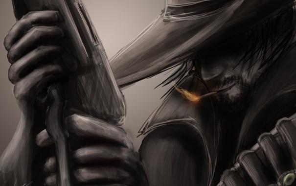 Фото обои рисунок, шляпа, сигарета, ковбой, плащ, патроны, винчестер
