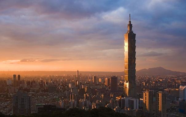 Фото обои закат, небоскреб, дома
