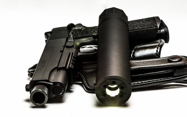 Фото обои пистолет, оружие, фонарь