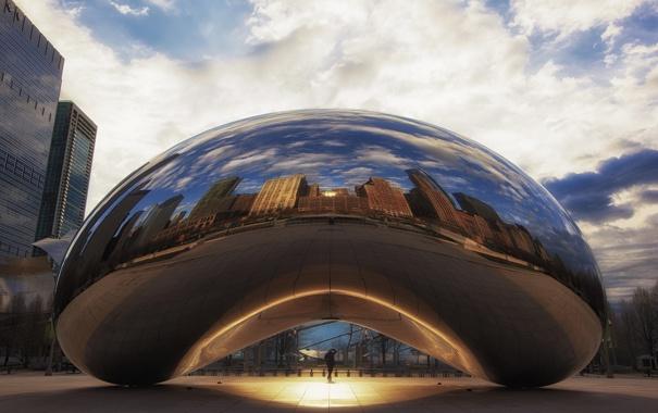 Фото обои город, парк, Чикаго, скульптура, morning, chicago, Иллиноис