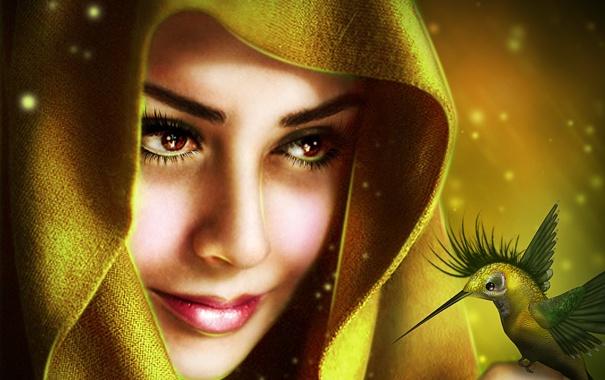 Фото обои глаза, взгляд, девушка, лицо, улыбка, магия, крылья