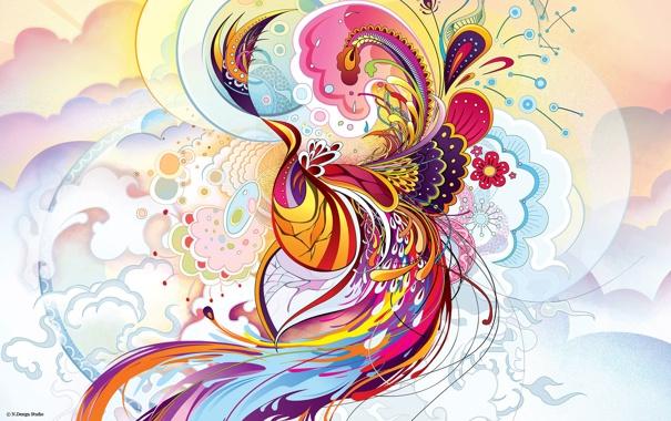 Фото обои узор, перья, цветы
