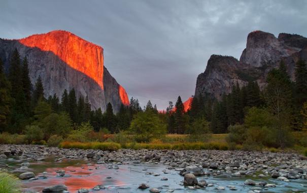 Фото обои пейзаж, река, гора