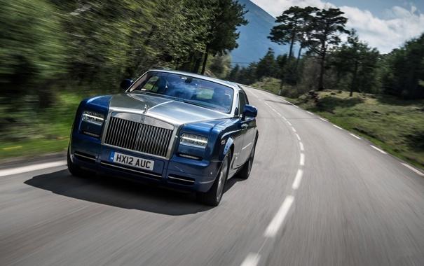 Фото обои Дорога, Синий, Rolls-Royce, Phantom, Машина, Coupe, передок