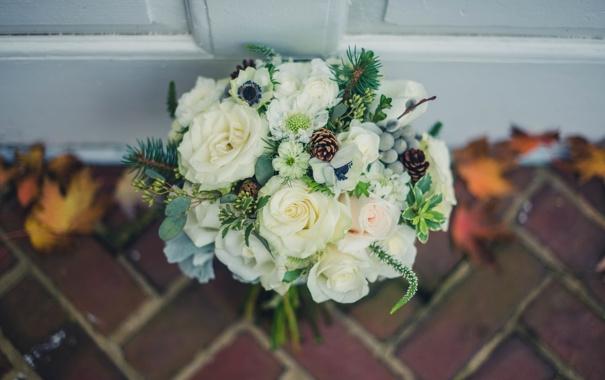 Фото обои цветы, букет, свадебный
