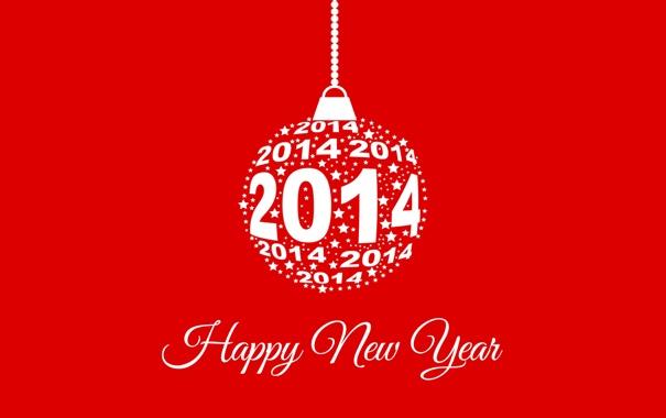 Фото обои красный, фон, игрушка, Happy New Year, 2014