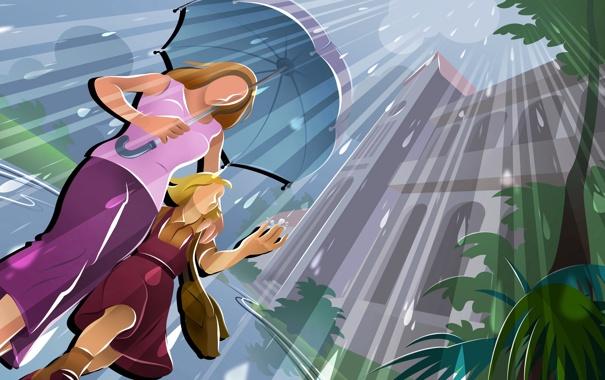 Фото обои пейзаж, город, дождь, дома, вектор, мама, дочка