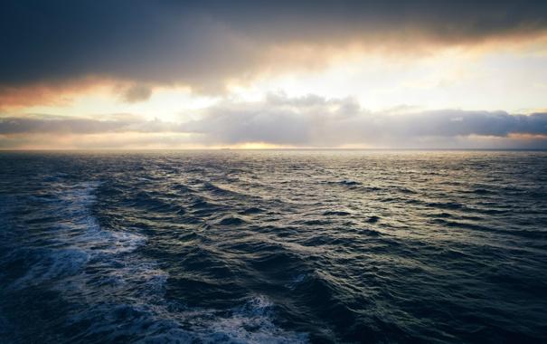 Фото обои море, волны, небо, вода, солнце, облака, свет