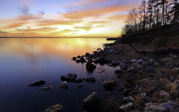 Фото обои пейзаж, закат, озеро
