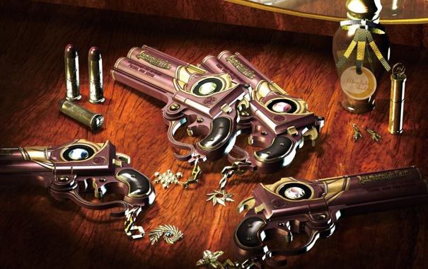 Фото обои отражение, пистолет, оружие, зеркало, патроны, bayonetta, пузырёк