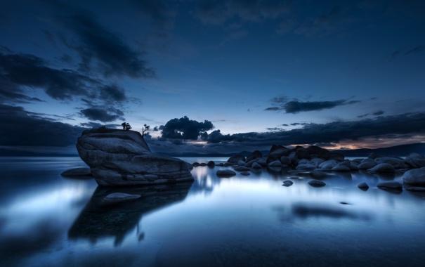 Фото обои озеро, отражение, камни, рассвет, nevada, lake tahoe, callifornia