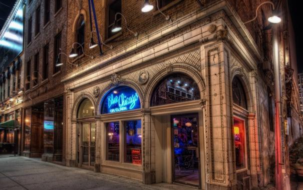 Фото обои Чикаго, Иллинойс, Chicago, Illinois, night, bar, usa