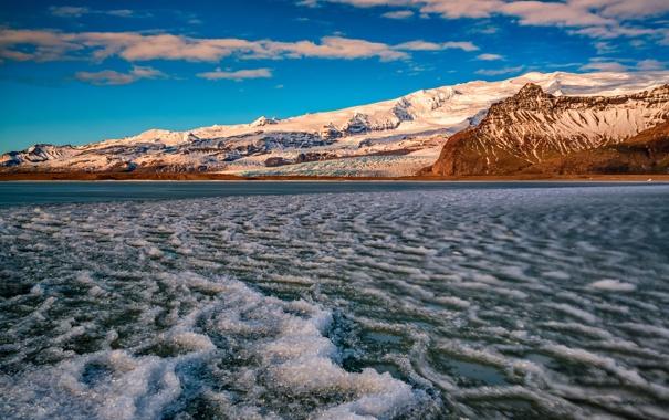 Фото обои зима, снег, гора, залив, Auster-Skaftafellssysla, Breidárlón Lagoon