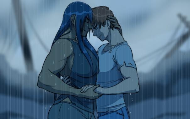 Фото обои девушка, любовь, дождь, пара, парень, двое