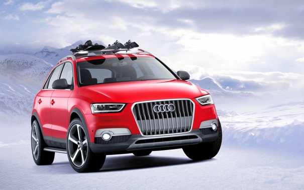 Фото обои Audi, Красный, Зима, Снег, Машина, Джип, Фары