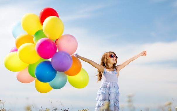 Фото обои шарики, радость, счастье, воздушные шары, colorful, девочка, girl