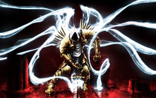 Фото обои свет, крылья, меч, капюшон, Diablo, Fan Art, lll