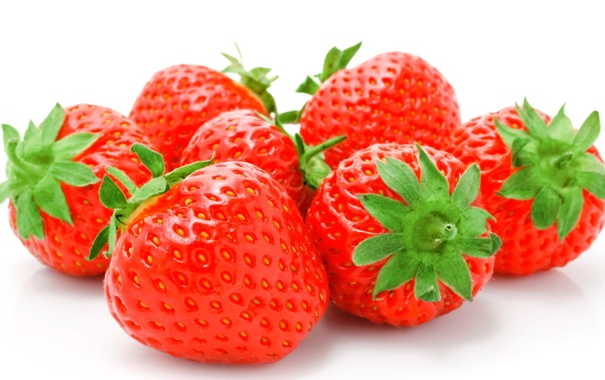 Фото обои клубника, ягода, белый фон, strawberry