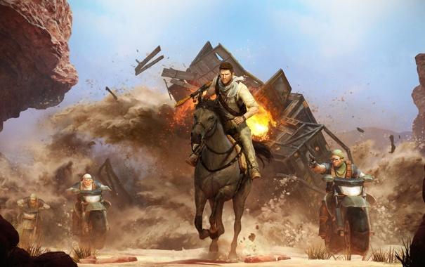 Фото обои Лошадь, Взрыв, Погоня, Nathan Drake, Перестрелка, Uncharted, Дрейк
