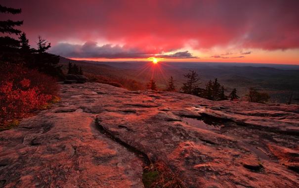 Фото обои закат, солнце, природа, горы, лучи, США, Северная Каролина
