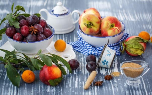 Фото обои листья, посуда, сахар, фрукты, натюрморт, персики, сливы