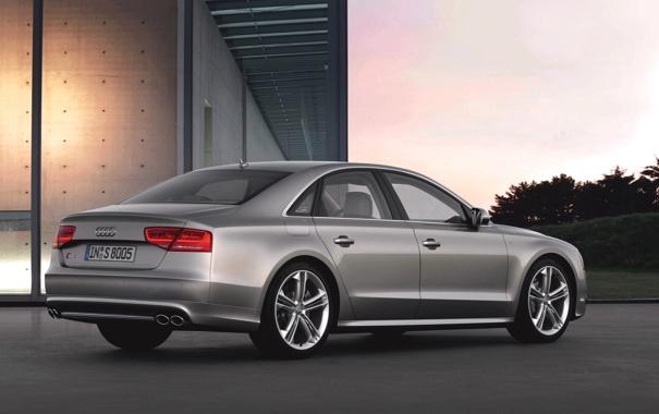 Фото обои Audi, Вечер, Авто, Ауди, Машина, Серый, Здание