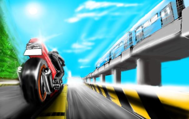 Фото обои дорога, движение, метро, рисунок, поезд, скорость, мотоцикл