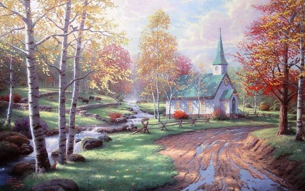 Фото обои дорога, осень, ручей, камни, желтые листья, белка, зайцы