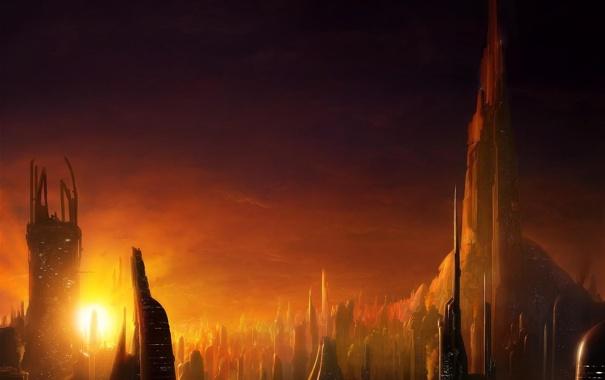 Фото обои солнце, закат, город, здания, вечер