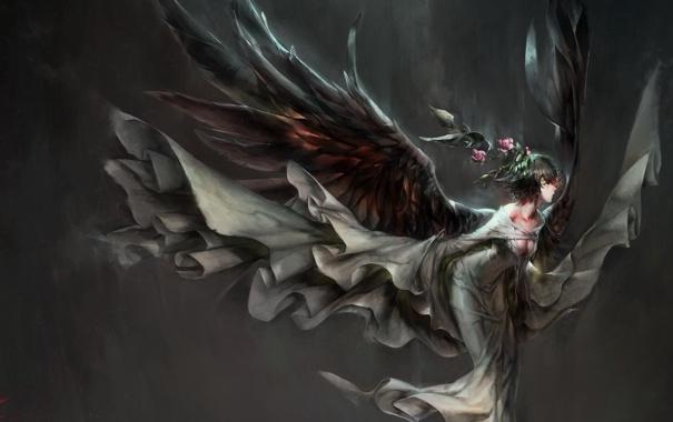 Фото обои девушка, цветы, крылья, аниме, арт, hong