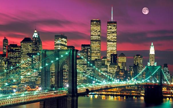 Фото обои небо, мост, огни, луна, дома, башни, нью-йорк