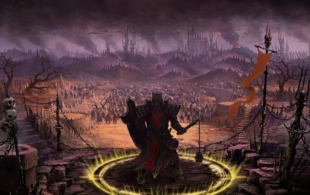 Фото обои доспех, круг, Crusader, скалы, Diablo III, щит, череп
