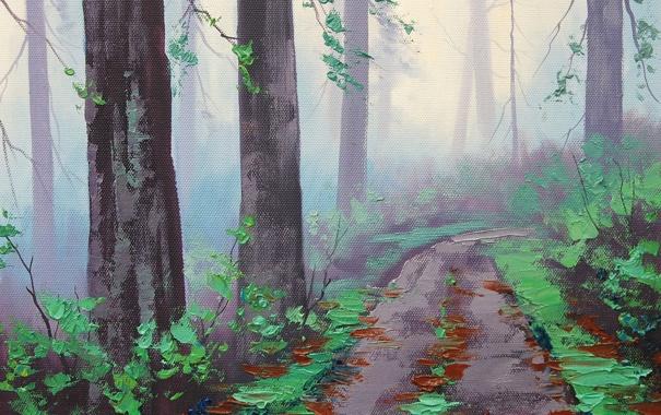 Фото обои АРТ, РИСУНОК, ARTSAUS, MISTY REDWOOD FOREST