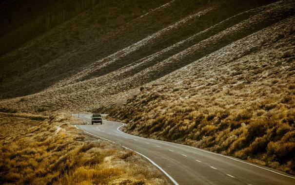 Фото обои west, america, united states, pickup, roads-curve