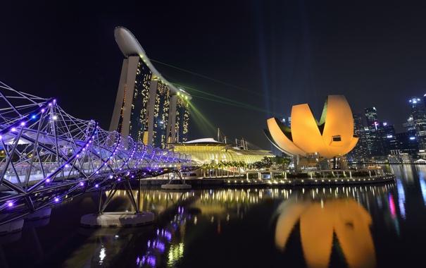 Фото обои небо, ночь, огни, Азия, Сингапур, отель, Марина Бэй