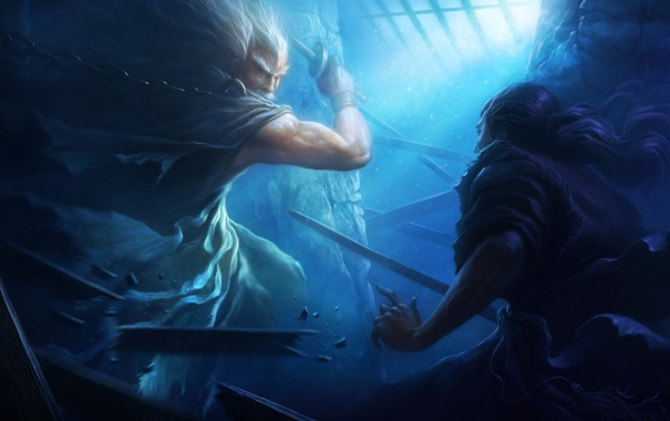Фото обои обломки, свет, цепь, мечи, воины, схватка, Perfect world