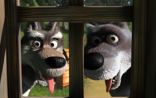 Фото обои мультфильм, волки, маша и медведь