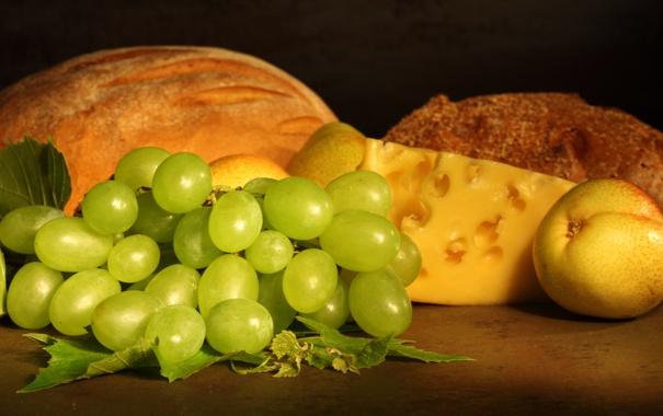 Фото обои сыр, хлеб, виноград, фрукты, груши