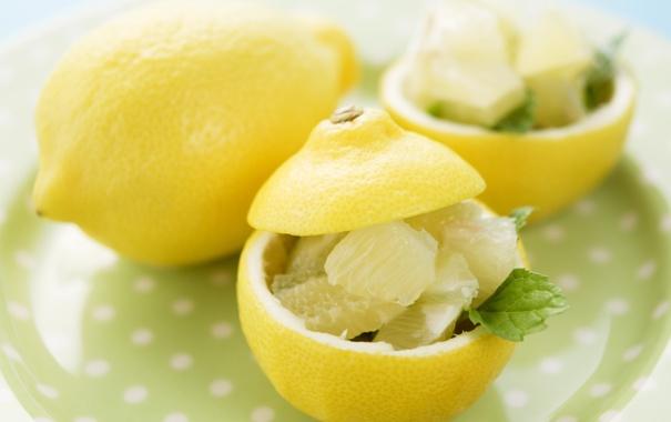 Фото обои лимон, еда, мёд, мята, композиция, оригинальная