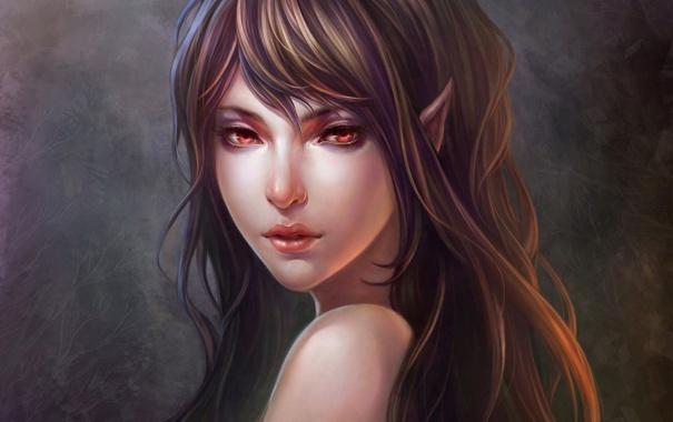 Фото обои лицо, уши, эльфийка, арт, фон, девушка
