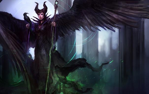 Фото обои посох, raven, wings, disney, Maleficent