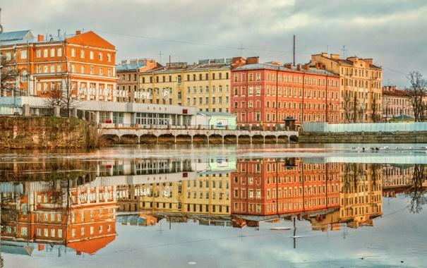 Фото обои отражение, здания, дома, Питер, Санкт-Петербург, Russia, спб