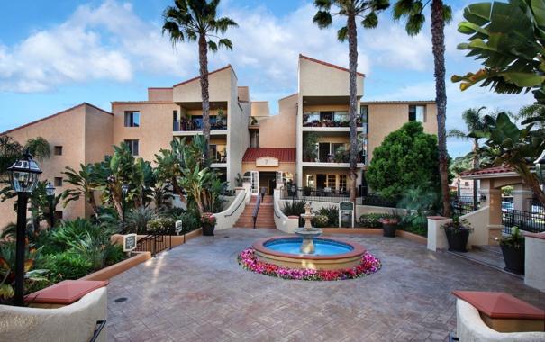 Фото обои цветы, дизайн, дом, пальмы, фонари, лестница, фонтан
