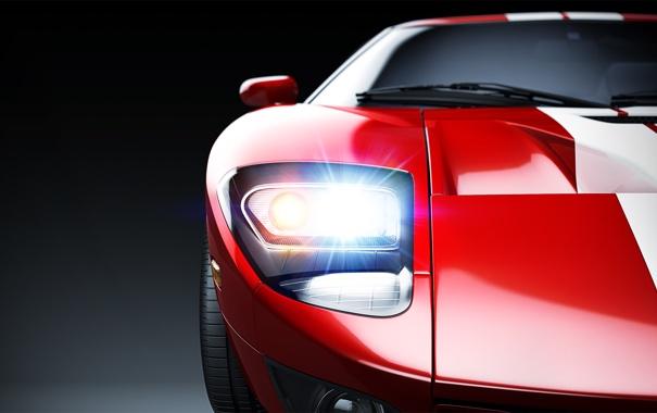 Фото обои свет, фара, Ford GT, Studio