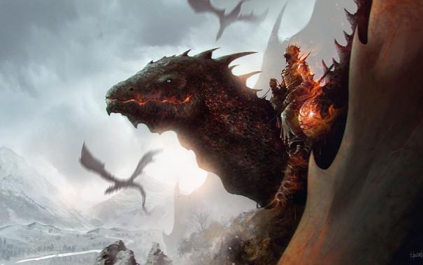 Фото обои горы, огонь, драконы, арт, всадник