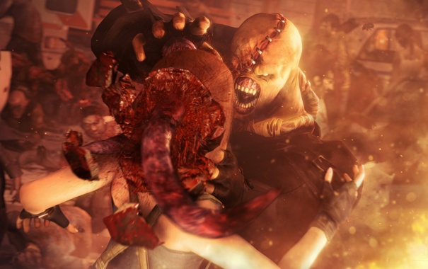 Фото обои смерть, голова, Resident Evil, jill valentine, nemesis