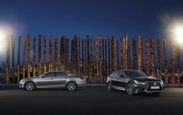 Фото обои Авто, Черный, Ночь, Lexus, Серый, Два, LS-EU