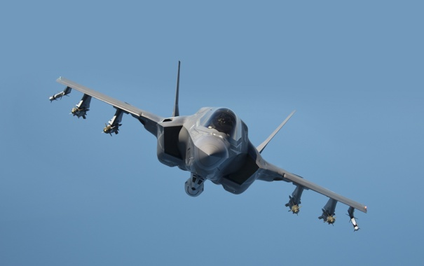 Фото обои истребитель, полёт, бомбардировщик, F-35B, Lockheed Martin