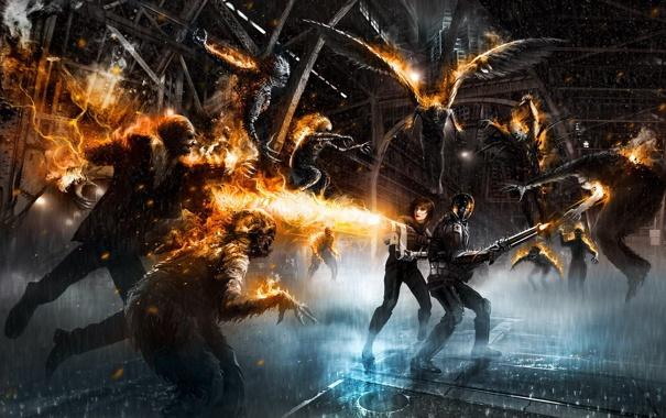 Фото обои город, оружие, люди, крылья, зомби, дробовик, огнемет